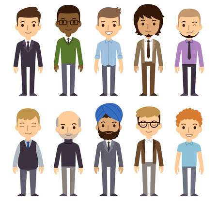 Illustrazione per Set of diverse businessmen isolated on white background. Different nationalities and dress styles. Cute and simple flat cartoon style. - Immagini Royalty Free