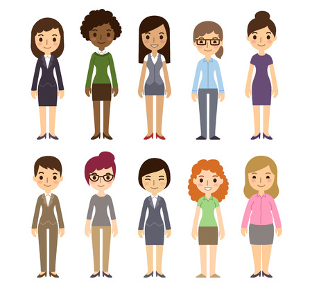 Illustrazione per Set of diverse businesswomen isolated on white background. Different nationalities and dress styles. Cute and simple flat cartoon style. - Immagini Royalty Free