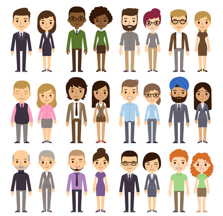 Illustrazione per Set of diverse business people isolated on white background. Different nationalities and dress styles. Cute and simple flat cartoon style. - Immagini Royalty Free