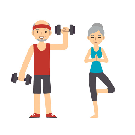 Ilustración de Active and healthy senior couple: cartoon man with dumbbells and woman doing yoga, isolated on white background. Modern minimalistic flat vector style. - Imagen libre de derechos