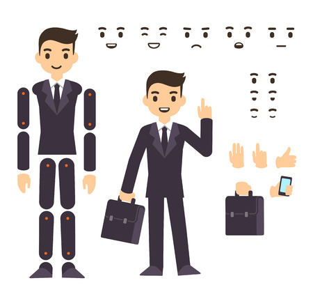 Illustration for Young businessman cartoon character in formal suit, animation ready vector doll with separate joints. Extra gestures, facial expressions and items (suitcase, smartphone) - Royalty Free Image