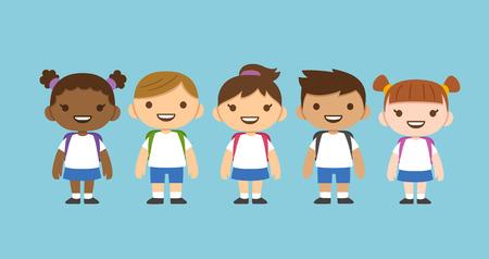 Illustration pour Cute cartoon diverse children wearing school uniform with backpacks. Different nationalities. - image libre de droit