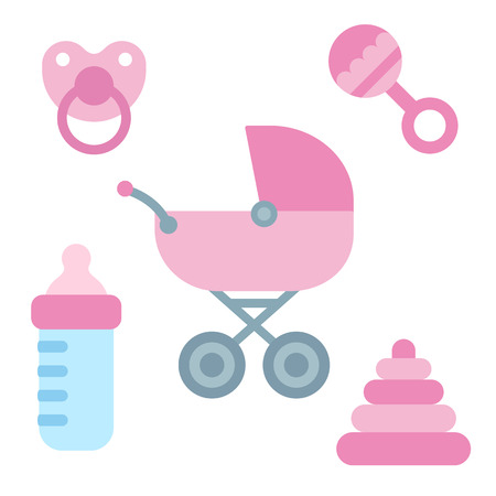 Illustration pour Cute cartoon newborn baby items in girly pink color: stroller, pacifier, milk bottle and toys. Baby shower design elements.  - image libre de droit