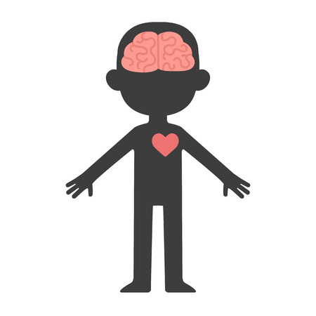 Illustrazione per Cartoon human body silhouette with visible brain and heart. - Immagini Royalty Free