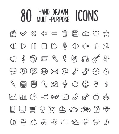 Photo pour Set of 80 multi-purpose interface icons for web or apps: communication, media, shopping, travel, weather and more. Clean and minimalistic, but with a personal hand drawn feel. Thin line icons isolated on white. - image libre de droit