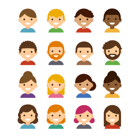 Illustration pour Set of diverse male and female avatars isolated on white background. Different skin tones, hair colors and styles. Cute and simple flat cartoon style. - image libre de droit