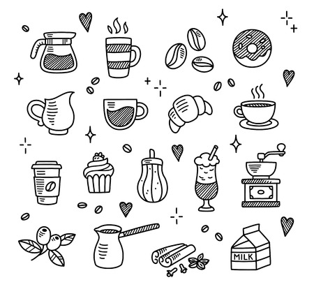 Ilustración de Large set of hand drawn coffee doodles: drinks, desserts, beans and other related objects. - Imagen libre de derechos