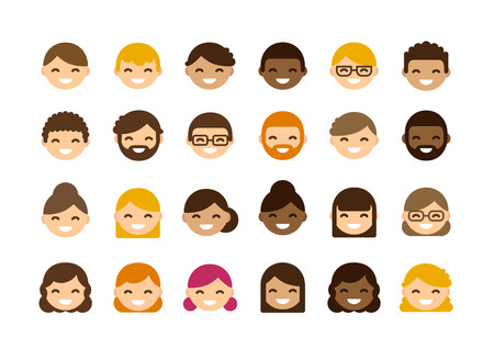 Ilustración de Set of diverse male and female avatars isolated on white background. Different skin color and hair styles. Cute and simple flat  style. - Imagen libre de derechos