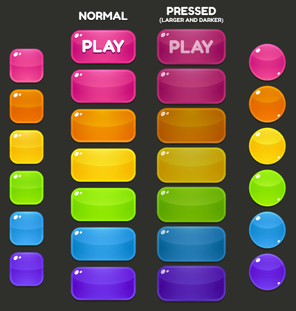 Illustration pour A set of juicy, vibrant game buttons in different shapes and colors. - image libre de droit