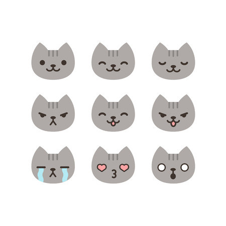 Illustration pour Set of cat emoticons in simple and cute cartoon style. - image libre de droit