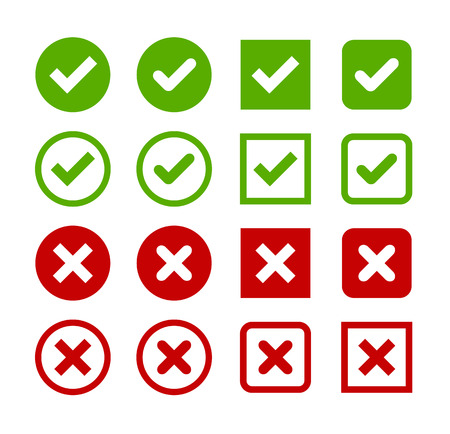 Illustration pour Large set of flat buttons: green check marks and red crosses. Circle and square, hard and rounded corners. - image libre de droit