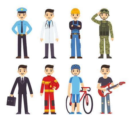 Illustrazione per Cartoon man in costumes of 8 different professions. - Immagini Royalty Free