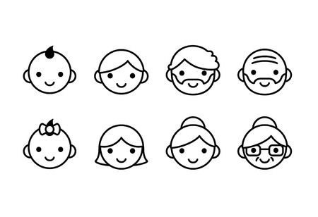 Illustration pour People ages icons, male and female, from young to old. Cute and simple line con set. - image libre de droit