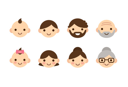 Illustration pour People ages icons, male and female, from young to old. Cute and simple flat con set. - image libre de droit