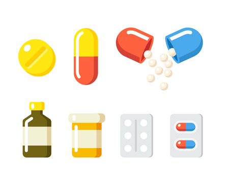 Illustration pour Drugs icons: pills, capsules ans prescription bottles. Medicine vector illustration in modern flat cartoon style. - image libre de droit