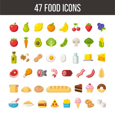 Ilustración de Large set of flat cartoon food icons: meat and dairy, fruits and vegetables, meals and desserts. - Imagen libre de derechos