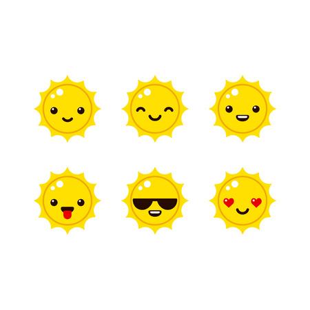 Ilustración de Cute sun emoticons in modern vector style. Cartoon smiley icons. - Imagen libre de derechos