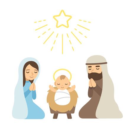 Photo pour Christmas Nativity Scene with baby Jesus. Modern flat vector illustration. - image libre de droit