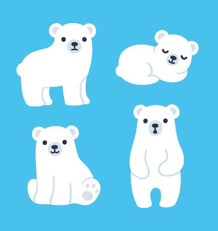 Illustration pour Cute cartoon polar bear cubs collection. Simple, modern style vector illustration. - image libre de droit
