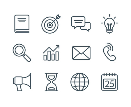 Ilustración de Set of business line icons, simple and clean modern vector style. Business symbols and metaphors in thin outlines with editable stroke. - Imagen libre de derechos