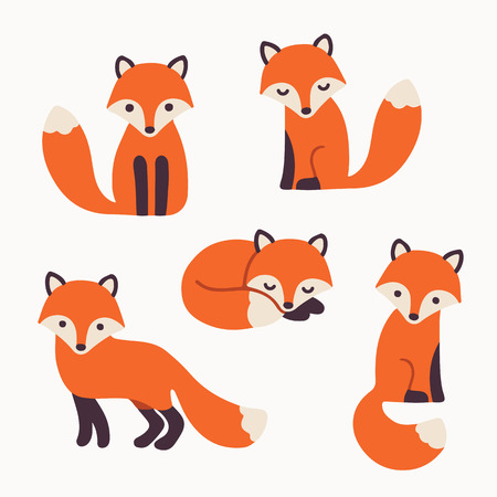 Ilustración de Set of cute cartoon foxes in modern simple flat style. Isolated vector illustration - Imagen libre de derechos