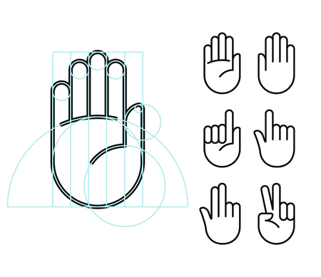 Illustration pour Hand gesture line icon set in modern geometric style with construction lines. Isolated vector illustration of human hands. - image libre de droit