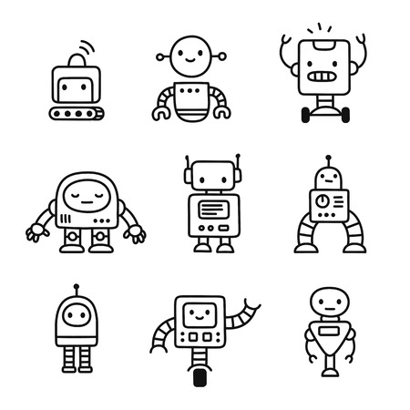 Cute little cartoon robots set. Hand drawn doodle style line art. Isolated vector illustration.