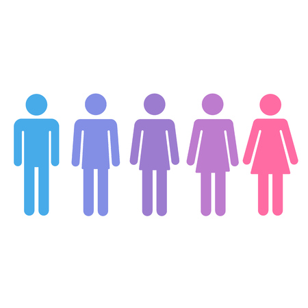 Illustration pour Transition process of transgender person from male to female. Gender fluid transsexual concept. Isolated vector illustration. - image libre de droit