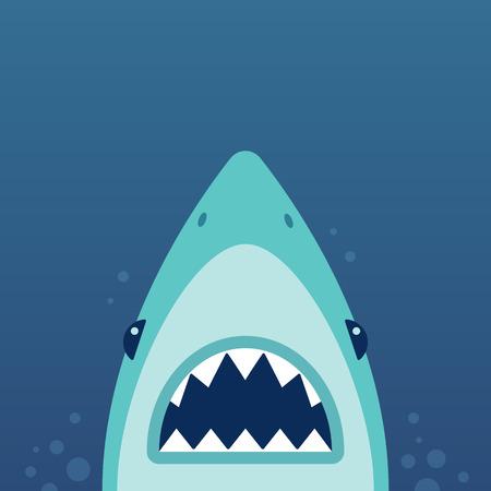 Ilustración de Shark with open jaws and sharp teeth. Vector illustration in flat cartoon style. - Imagen libre de derechos