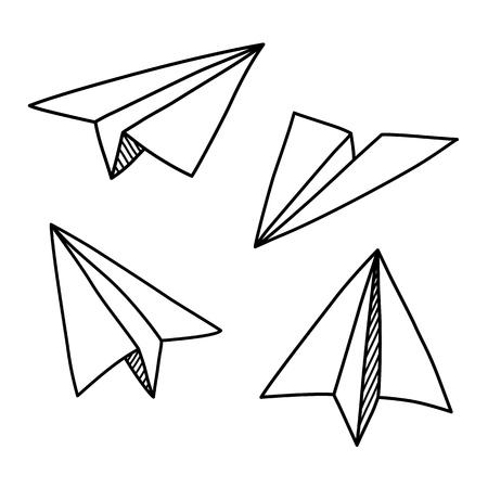 Illustration pour Doodle paper plane set in hand drawn sketch style - image libre de droit