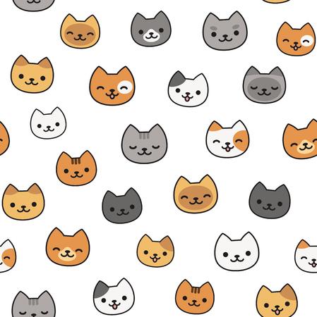 Ilustración de Seamless pattern of cute cartoon cats, different breeds and colors. - Imagen libre de derechos