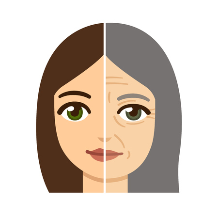 Illustration pour Woman facedivided in half, young and old with wrinkles. - image libre de droit
