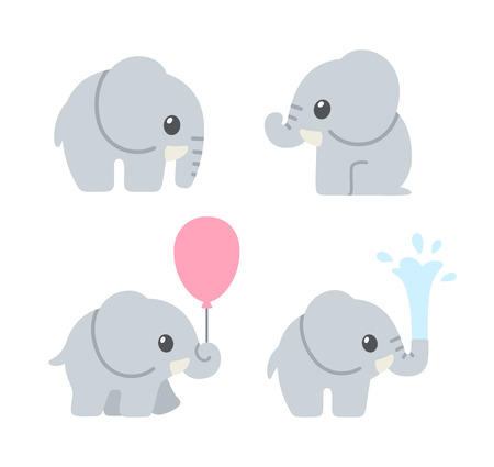 Illustration pour Cute cartoon baby elephant set. Adorable elephant illustrations for greeting cards and baby shower invitation design. - image libre de droit