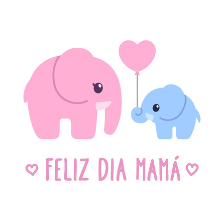 Illustration pour Feliz Dia Mama, Spanish for Happy Mother's Day. Cute cartoon greeting card, baby elephant gift to elephant mom. Adorable hand dawn illustration. - image libre de droit