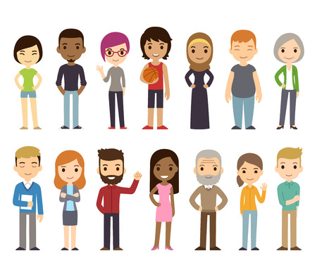 Illustrazione per Set of diverse vector people. Men and women, young and old, different poses. Cute and simple modern flat cartoon style. - Immagini Royalty Free
