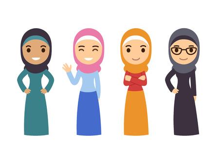 Ilustración de Muslim women set. Cute cartoon Arab girls in traditional dress. Businesswomen collection. - Imagen libre de derechos