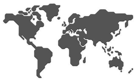 Illustration pour Stylized world map. Modern flat vector illustration. - image libre de droit