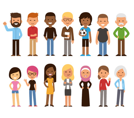 Illustrazione per Diverse set of cartoon people. Men and women of all ages and lifestyles. Cute geometric flat style. - Immagini Royalty Free