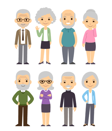 Illustration for Cute cartoon senior people set. Happy old people, men and women, isolated flat vector illustration. - Royalty Free Image
