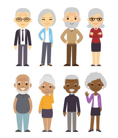 Illustration pour Diverse cartoon senior couples set. Happy old people, men and women, asian, black and white. Isolated flat vector illustration. - image libre de droit