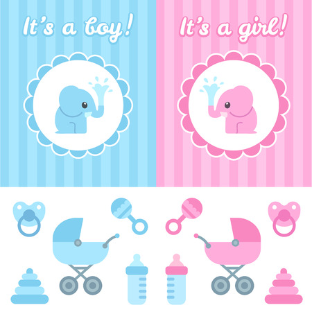 Illustration pour Baby shower design elements. Cute cartoon baby elephant on elegant background, toys and newborn items. Boy and girl version. - image libre de droit