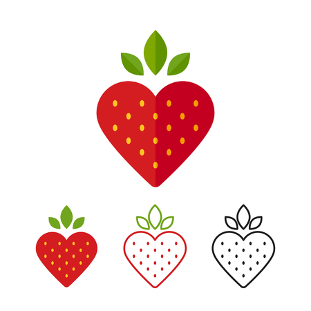 Photo for Heart shape strawberry icon. Flat design modern vector illustration. Color, line and black. - Royalty Free Image