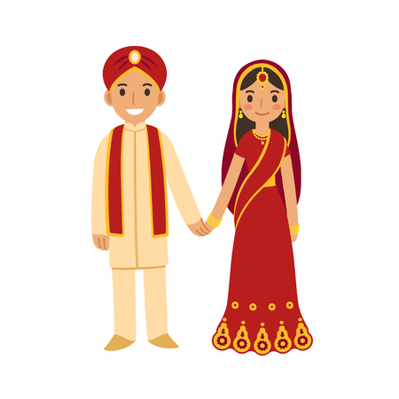 Illustration for Indian wedding couple in traditional dress holding hands and smiling. Cute cartoon vector illustration. - Royalty Free Image