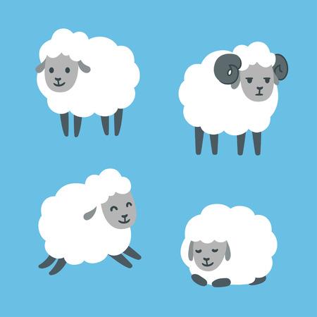 Ilustración de Cute cartoon sheep set. Standing, jumping and lying. Male ram with horns. Vector illustration. - Imagen libre de derechos