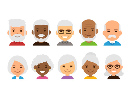 Illustration for Old people cartoon avatars set. Isolated vector illustration of diverse senior characters. - Royalty Free Image