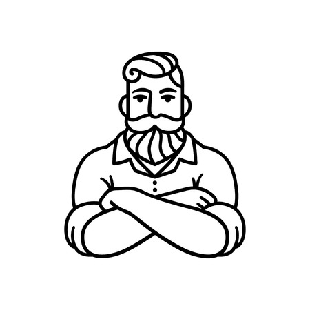 Illustration pour Black and white line drawing of bearded man with arms crossed. Stylish hipster  illustration. - image libre de droit