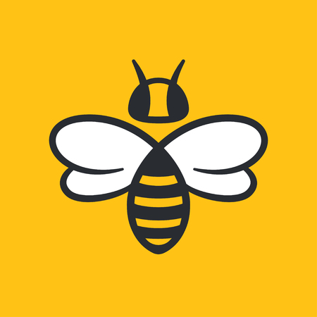 Bee or wasp logo design vector illustration. Simple stylized icon in flat cartoon style.