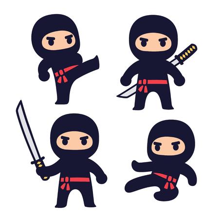 Cute cartoon ninja set with katana sword, different fighting poses. Isolated vector clip art illustration.