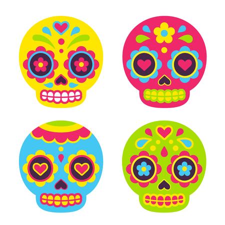 Ilustración de Mexican Dia de los Muertos (Day of the Dead) sugar skulls. Cute simple vector illustration in flat cartoon style. - Imagen libre de derechos