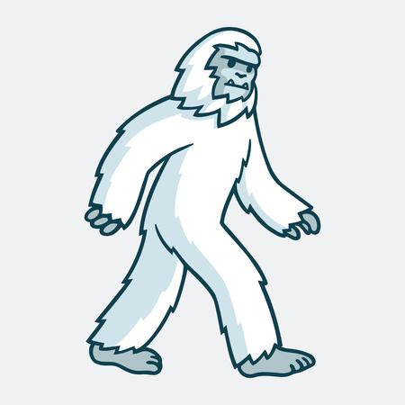 Ilustración de Cartoon yeti monster illustration. White hairy beast drawing. - Imagen libre de derechos